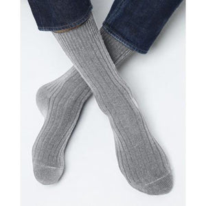 Bleuforet Men's Cashmere Ribbed Socks in Flannel Grey