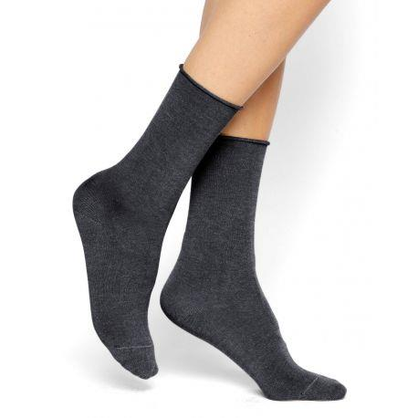Bleuforet Cotton Roll-Top Socks in Dark Grey/Anthracite
