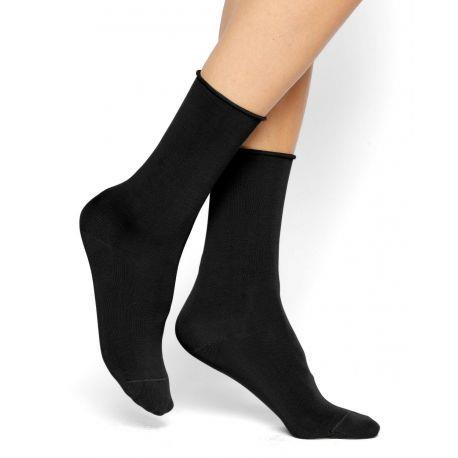 Bleuforet Cotton Roll-Top Socks in Black