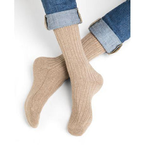 Bleuforet Men's Cashmere Ribbed Socks in Dune