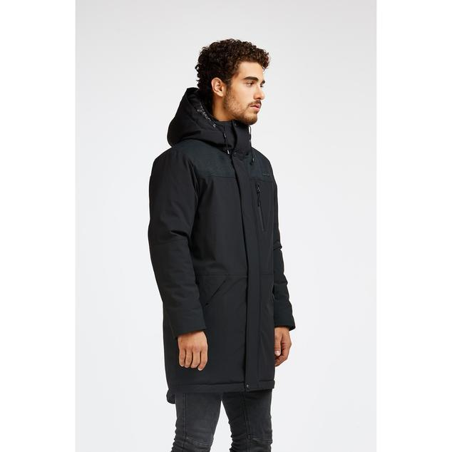 "Side View of Audvik Toronto Men's Parka in Black, Audvik Men's ""Toronto"" Parka -- No Fur, No Down -- Black or Olive"