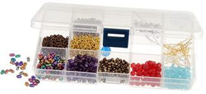 Tackle stowaway box. Adjustable compartments, (5-15). Clear plastic.