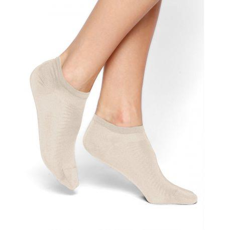 Bleuforet Mercerized Cotton Ankle Socks in Cream