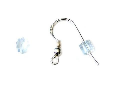 WOT findings. Earring, (fish-hook), stopper. Clear rubber. 6 pack.