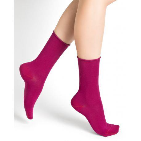 Bleuforet Cotton Roll-Top Socks in Fuschia