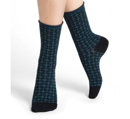 Bleuforet Velvet Cotton Diamond Pattern Socks in Atlantic Blue