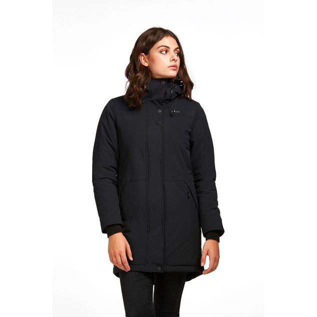 Front View of Audvik Ladies Montreal Parka in Black