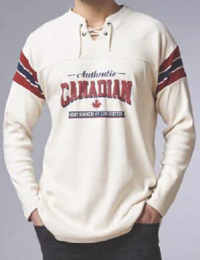 "A model wearing Stanfield's Heritage Collection Hockey Jersey with ""Authentic Canadian"" screenprint."