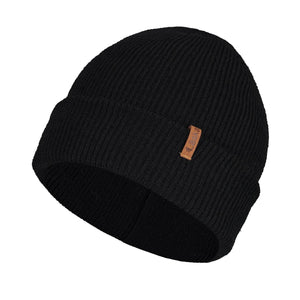 Laska, Double Knit Touque with folded brim. One Size. Black