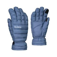 Laska, Men's Down Gloves. 1 Pair. Fleece Lined, Touchscreen Compatible, Windproof. Blue, Sizes Extra Small to Double Extra Large.
