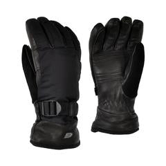 Ganka, Men's, Ski Glove with Thinsulate, Deerskin on exterier, Fleece Lined, Windproof , Super Suade thumb, Adjustable quick release wrist strap with elastic, easy pull tab. Sizes Small to Extra Large. Black.