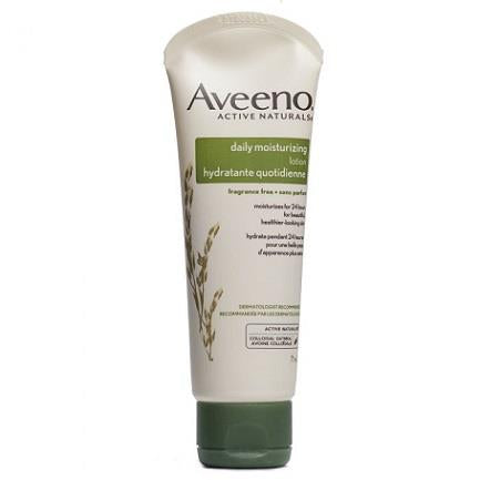 A queezeable tube of Aveeno fragrance-free daily moisturizing lotion