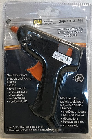 CM Hardware Mini Glue Gun in a plastic package. Comes with two 8mm glue sticks.