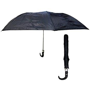 An automatic, collapsible black umbrella with hook handle, shown open and folded.