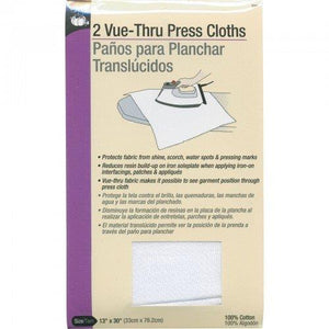 A plastic-covered package of two white, cotton Dritz press cloths.
