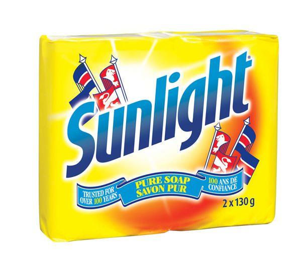 A bright yellow package of two bars of Sunlight pure soap.