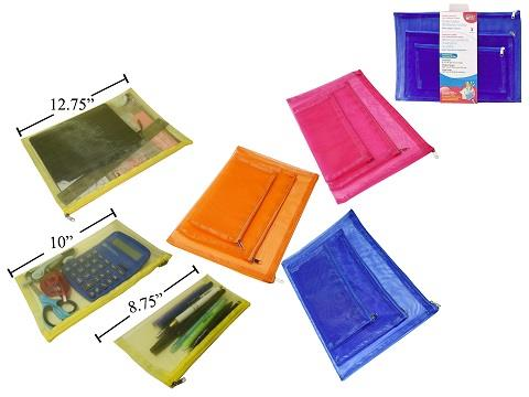 Office Works Mesh Zippered Pouch 3pk