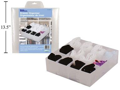 drawer organizer both out of the package filled with socks and in the packaging