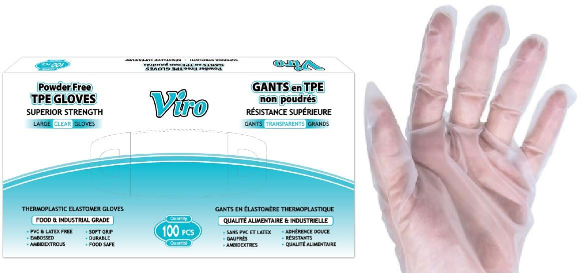 Viro branded box, with gloved handed beside