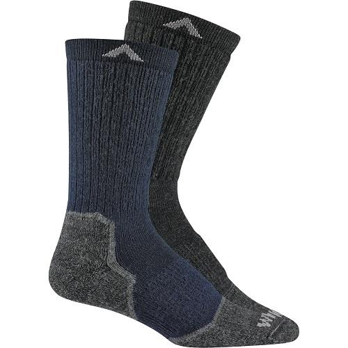 Wigwam Lite Hiker Socks in Navy and Oxford Grey against a white background