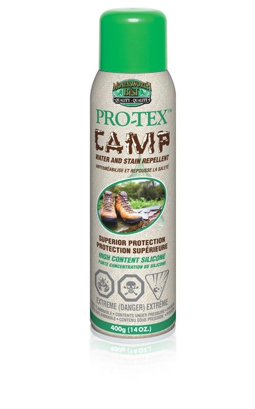 300 gram aerosol can of Pro-tex Camp Spray against white background.