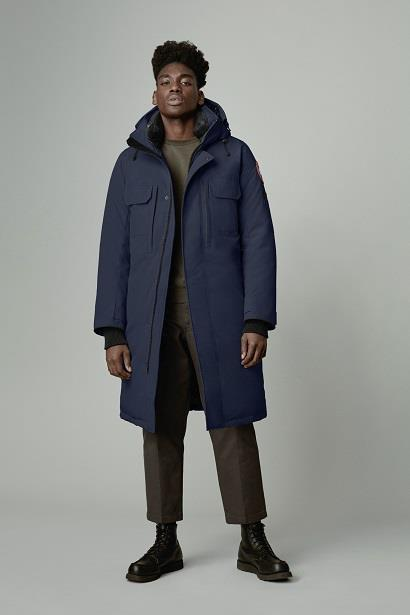 front view of man wearing the westmount parka in atlantic navy