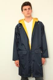 MTC rain parka, black. Reversible nylon to rubber. Unisex.