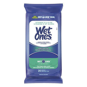 A resealable travel pack of 20 wet ones wipes