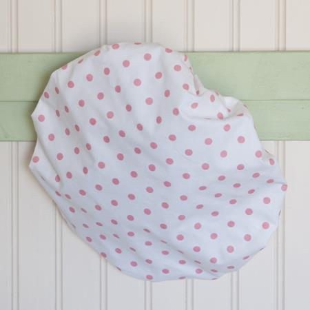 Patterned shower cap, (polkadot).