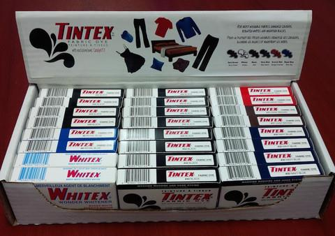 Tintex dyes, 55 g box, various colours.