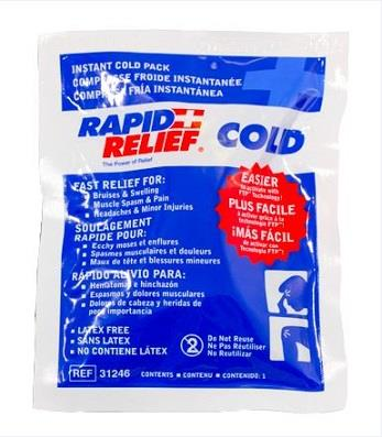 "Rapid Aid cold compress cold pack, 4"" x 6"" instant single use"