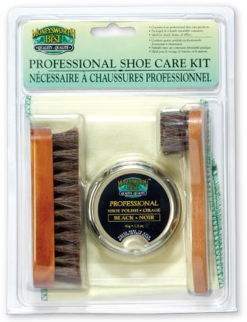 M&B shoe polish kit, travel, 4 pieces, brown