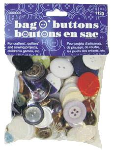 Bag-o-buttons, assorted. 112 g multipack.