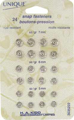 Esprit, Snap Fasteners, Silver, 24 pack