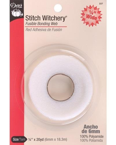 "Dritz fusible bonding web, 1/4"" x 20 yds. Regular weight. White."
