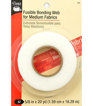 "Dritz fusible bonding web roll. 5/8"" x 20 yds. Regular. White"