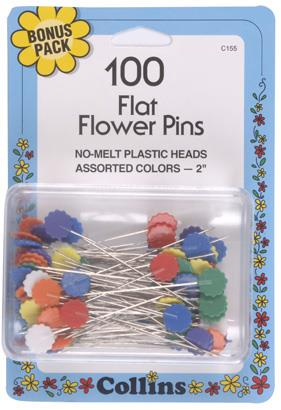 Collins, flat, flower head pins. 100 pack.
