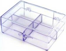 N/N bobbin box, clear purple. Fits 12 bobbins.