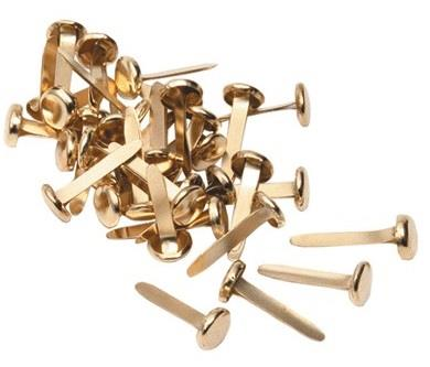 Kamset paper fasteners. 30 pack. Brass.