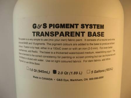 G&S dyes transparent base. 1.89L.