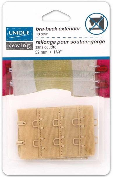 "Unique bra-back extender. 1-1/4"".  2 hook. Beige"