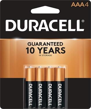 Duracell batteries, AAA. 4 pack.