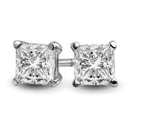 Earrings, studs. 5 mm diamond-nickel (costume).