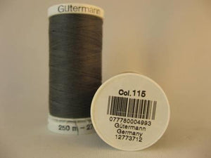 Gutermann Thread Polyester 250m #115 Grey