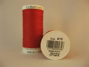 Gutermann thread, polyester. 250m. #410 red.