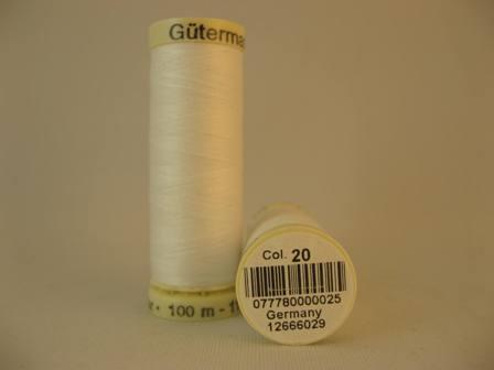 Gutermann thread, polyester. 100m. #20 white.