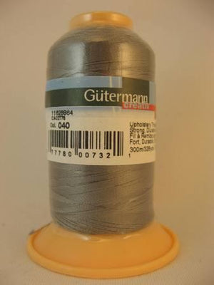 Gutermann upholstery thread, polyester. 300m. #40 grey.