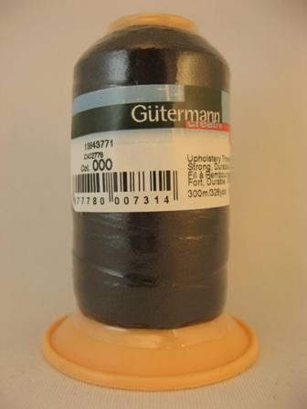Gutermann upholstery thread, polyester. 300m. #000 black.