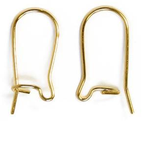 WOT findings. Earring, kidney wire hooks. Gold coloured. 24 pack.