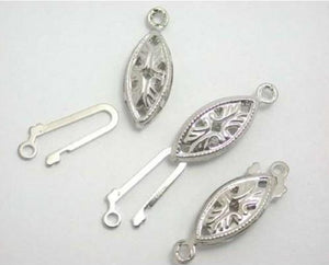 WOT findings. Fish-hook clasp. Silver coloured. 12 pack.